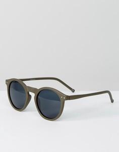 Круглые солнцезащитные очки в матовой оправе оливкового цвета ASOS - Зеленый