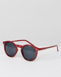 Солнцезащитные очки в круглой бордовой оправе ASOS - Красный
