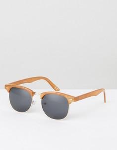 Коричневые солнцезащитные очки в стиле ретро ASOS - Коричневый