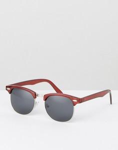 Бордовые солнцезащитные очки в стиле ретро ASOS - Красный