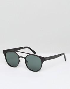 Солнцезащитные очки в круглой черной оправе с двойной переносицей Komono Finley - Серебряный