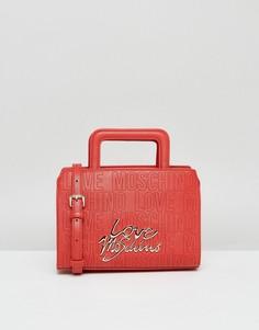 Сумка с короткими ручками со съемным ремешком через плечо Love Moschino - Красный