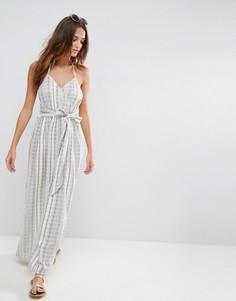 Пляжное платье макси в полоску из натуральных волокон ASOS - Мульти