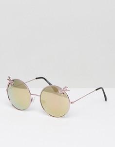 Круглые солнцезащитные очки с пальмами 7X - Розовый