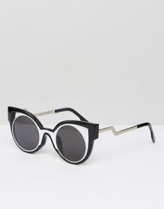 Солнцезащитные очки в массивной контрастной оправе 7X - Черный
