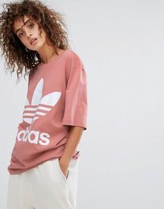 Розовая свободная футболка adidas Originals - Розовый