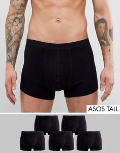 Набор из 5 черных боксеров-брифов ASOS TALL - СКИДКА - Черный