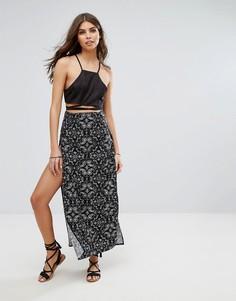 Пляжная юбка макси с принтом пейсли Lira - Мульти