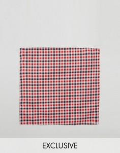 Красный платок для пиджака в клетку Reclaimed Vintage Inspired - Красный