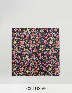 Черный платок для пиджака с цветочным принтом Reclaimed Vintage Inspired - Черный