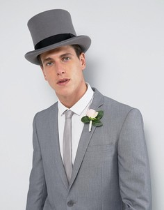 Серая фетровая шляпа-цилиндр ASOS WEDDING - Серый