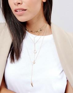 Многоярусное ожерелье-чокер с подвесками DesignB London - Золотой