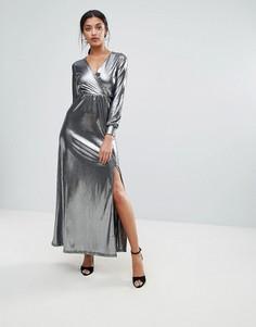 Платье макси цвета металлик с запахом Club L - Серебряный