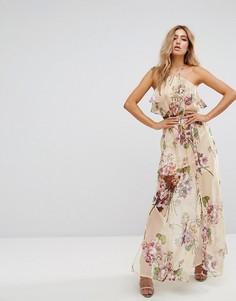 Длинное платье-халтер с цветочным принтом Boohoo - Красный