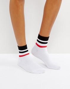 Белые носки в разноцветную полоску ASOS - Мульти
