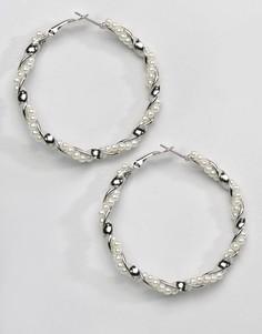 Серьги-кольца с искусственным жемчугом Reclaimed Vintage Inspired - Серебряный