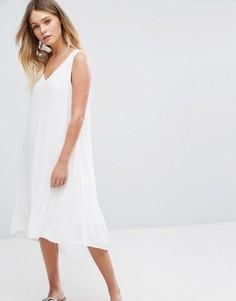 Многоярусное платье без рукавов Selected - Белый