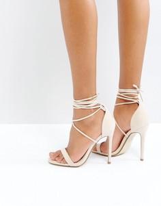 Сандалии на каблуке и шнуровке Missguided - Бежевый