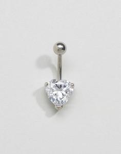 Украшение для пирсинга пупка серебристого цвета с сердцем Kingsley Ryan - Серебряный