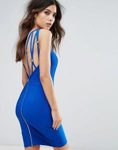 Бандажное платье с ремешками WOW Couture - Синий