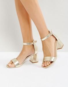 Золотистые босоножки на каблуке Glamorous - Золотой