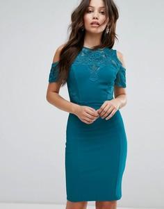 Облегающее платье миди с открытыми плечами Lipsy - Зеленый