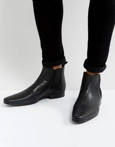 Черные кожаные ботинки челси с тиснением ASOS - Черный