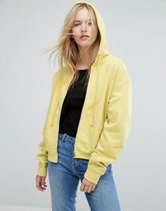 Худи на молнии Weekday - Желтый