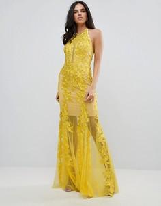 Платье-халтер с кружевной отделкой Forever Unique - Желтый