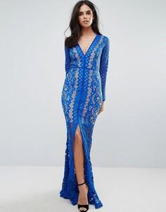 Кружевное платье макси с глубоким вырезом Forever Unique - Синий