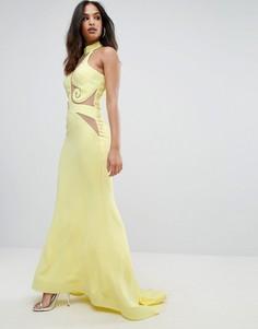 Платье-халтер макси с сетчатой вставкой Forever Unique - Желтый