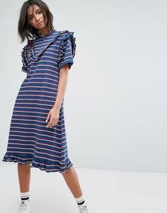 Платье-футболка в полоску с молнией STYLENANDA - Темно-синий