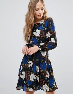 Платье с длинными рукавами и цветочным принтом Yumi - Мульти