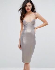 Блестящее платье-футляр с глубоким вырезом Rare London - Серебряный