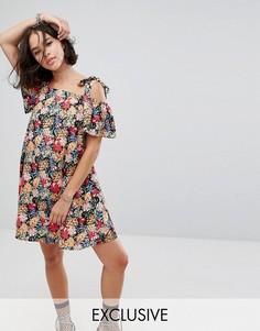 Платье мини с открытыми плечами, цвточным принтом и завязками Reclaimed Vintage Inspired - Мульти