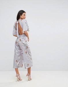 Комбинезон-кимоно с принтом цветов и птиц Hope & Ivy - Серый