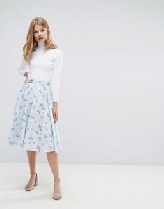 Короткая расклешенная юбка в стиле 50-х Hell Bunny Amelia - Синий