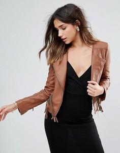 Куртка из искусственной кожи с бахромой Brave Soul - Коричневый