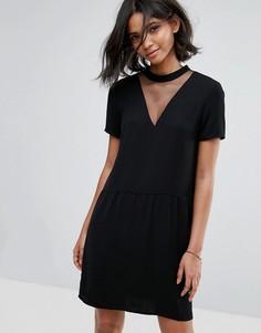 Свободное платье с сетчатыми вставками Vila - Черный