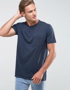Темно-синяя облегающая футболка с карманом Abercrombie & Fitch - Темно-синий
