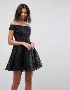 Кружевное приталенное платье Hell Bunny Paris - Черный