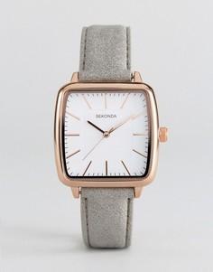 Квадратные часы с серым ремешком из искусственной кожи Sekonda 2451 - Серый