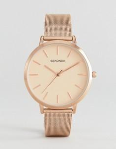 Розово-золотистые часы с сетчатым браслетом Sekonda 2475 - Золотой