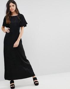 Жаккардовое платье макси с оборками на рукавах Liquorish - Черный