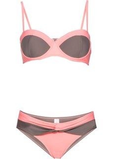 Купальный костюм бикини, чашка C (серый/ярко-розовый) Bonprix
