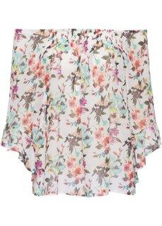 Блузка с вырезом-кармен (белый/лиловый/нежно-голубой с узором) Bonprix