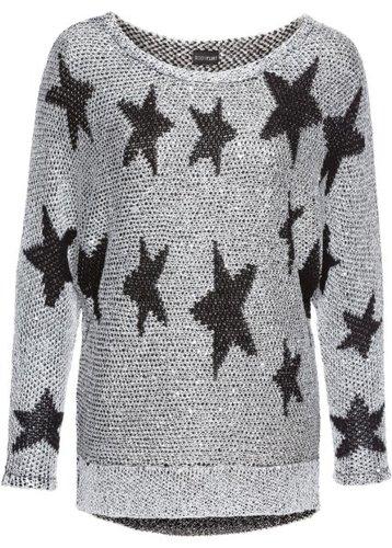 Вязаный пуловер с пайетками (серебристый/черный)