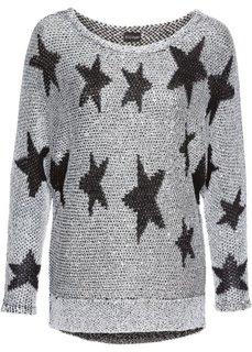 Вязаный пуловер с пайетками (серебристый/черный) Bonprix