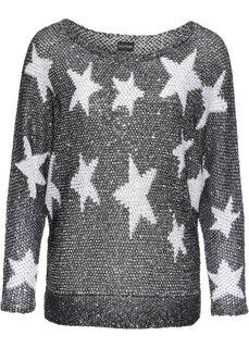Вязаный пуловер с пайетками (черный/белый) Bonprix