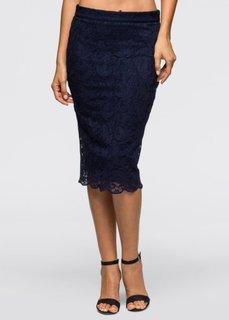 Кружевная юбка-карандаш (темно-синий) Bonprix